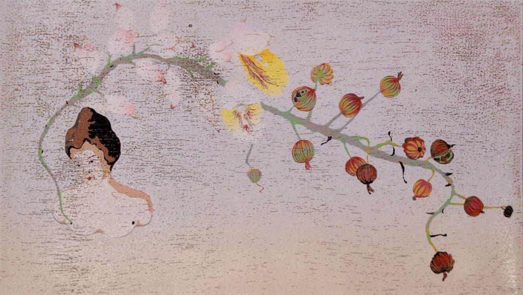 李屏宜-月桃仕女(油印木刻)-38x56cm-2015