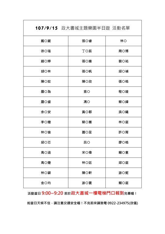 越讀者聯盟9月15日「政大書城主題樂園辦日遊」報名名單(1)
