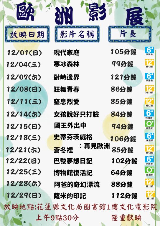 12月份文化電影欣賞(歐洲影展節)(1)
