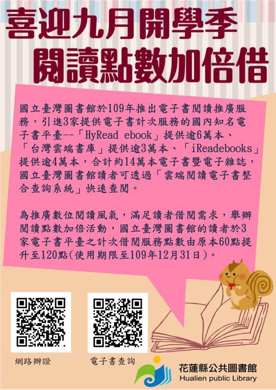 國立臺灣圖書館推動「喜迎九月開學季,閱讀點數加倍借」活動