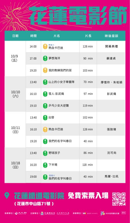 【2020花蓮電影節】 6/9起活動開跑(2)