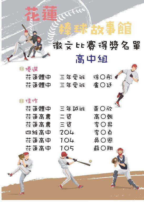 花蓮棒球故事館運動閱讀徵文比賽出爐囉!(1)