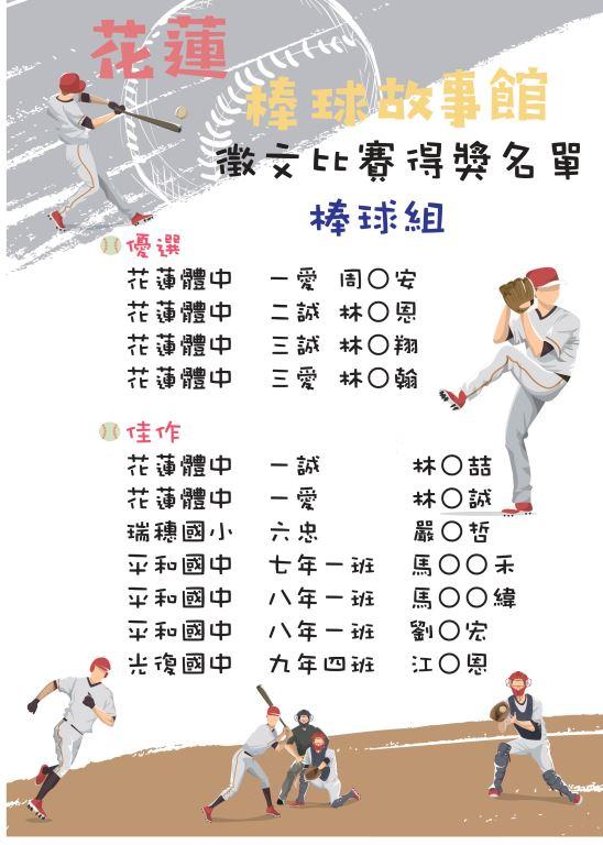 花蓮棒球故事館運動閱讀徵文比賽出爐囉!(4)