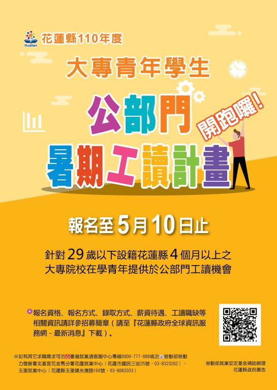花蓮縣110年度大專青年學生公部門暑期工讀計畫(1)