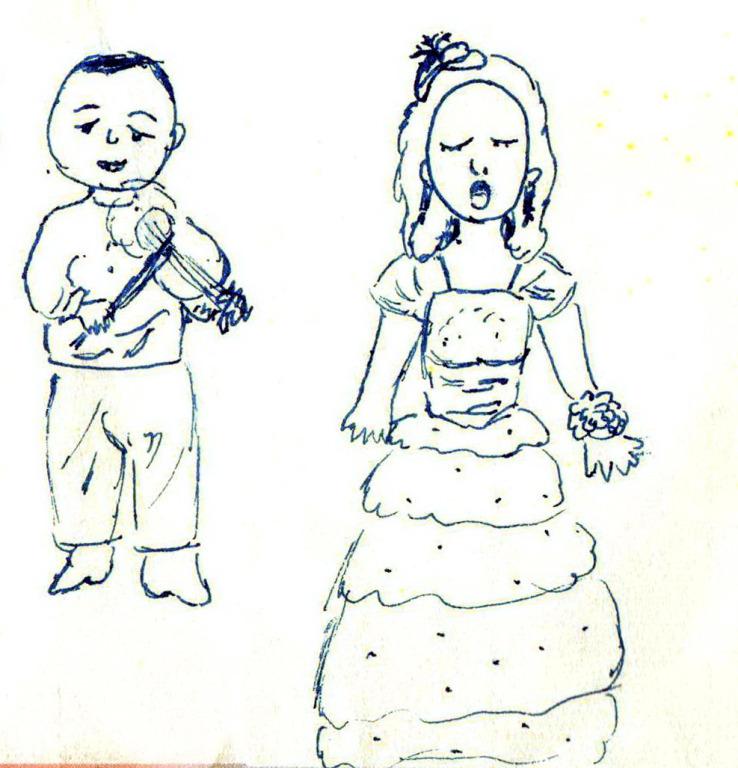 國立東華大學附小三年級逸君小朋友,在花蓮縣文化局演藝廳裡,即席繪畫的梅斯與詹美慧兩位音樂家的傳神風采。